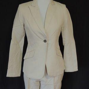 Calvin Klein Womens Sz 2 2pc Linen Suit Pants Blaz